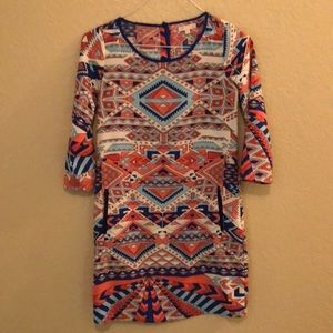 Printed GB 3/4 Sleeve Shift Dress